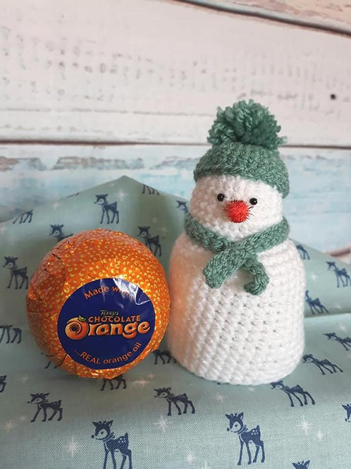 Pattern for crochet snowman chocolate orange cover