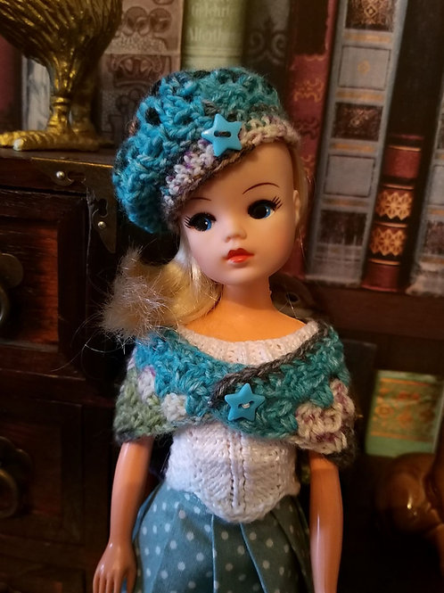 crochet patterm for a shawl an hat to fit Sindy doll