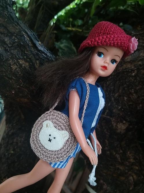 Sindy Doll teddy applique crochet shoulder bag