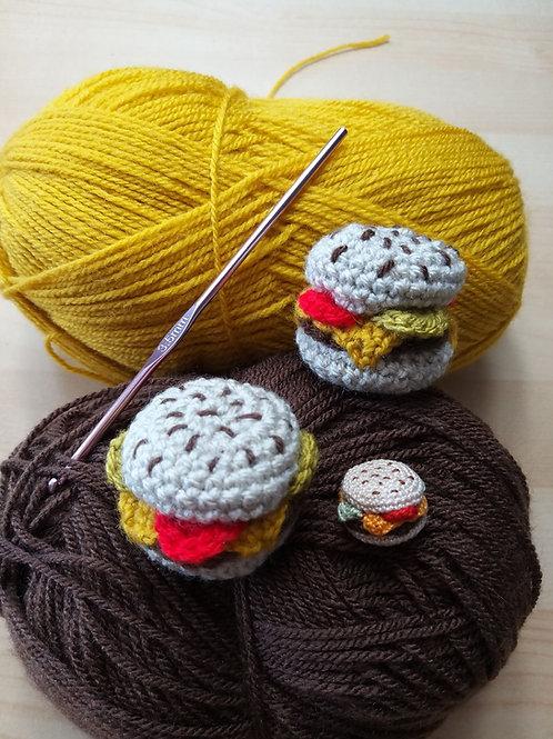 Mini Burger crochet pattern, UK terms, YouTube version