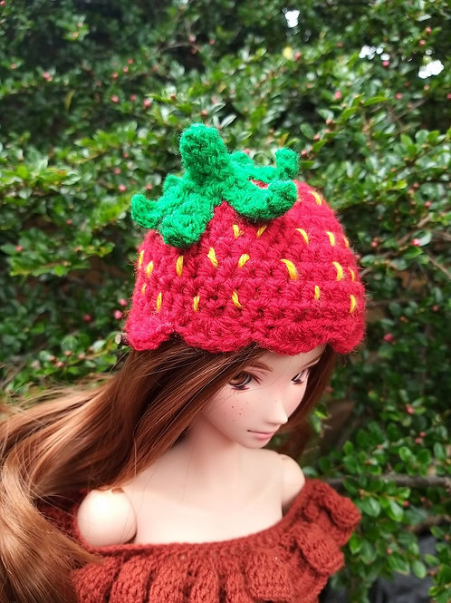 Crochet Pattern for a Strawberry hat to fit Smartdoll
