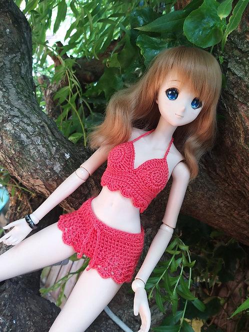 Crochet bikini top and shorts set to fit Smartdoll