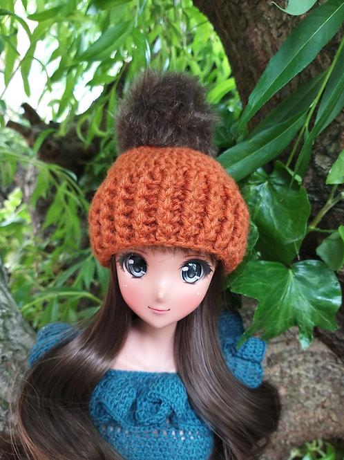 Smartdoll crochet hat with faux fur pompom