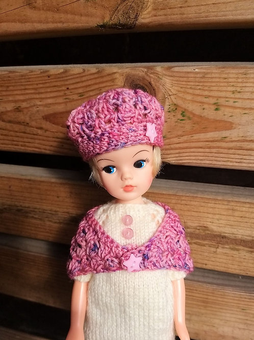 Sindy doll crochet hat and shawl set various colours