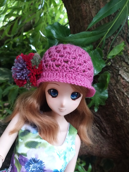 Crochet cloche hat with pompom to fit Smartdoll