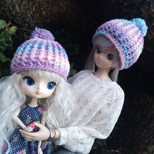 Crochet doll hat to fit Smartdoll, pullip or similar