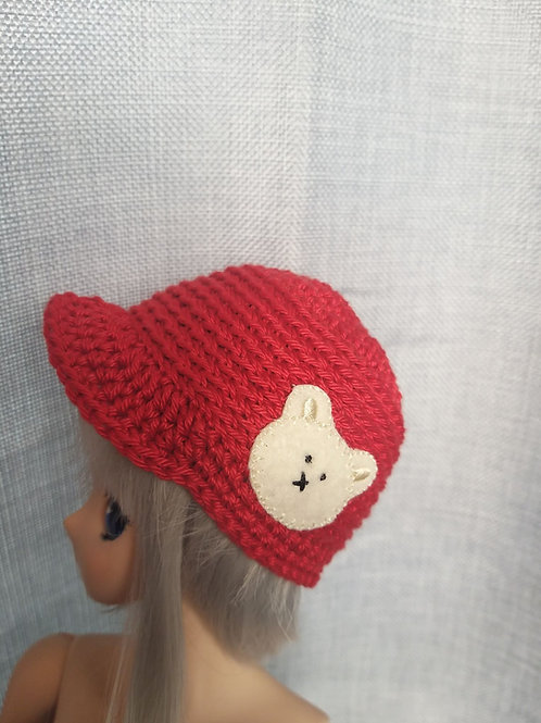 Red crochet cap with teddy applique to fit Smartdoll