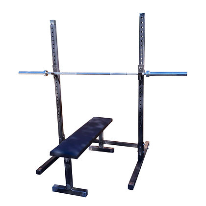 Flat weight bench, squat and bench rack, weights, barbell, home gym package