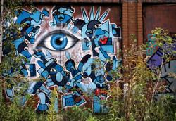 streetart, blue eye