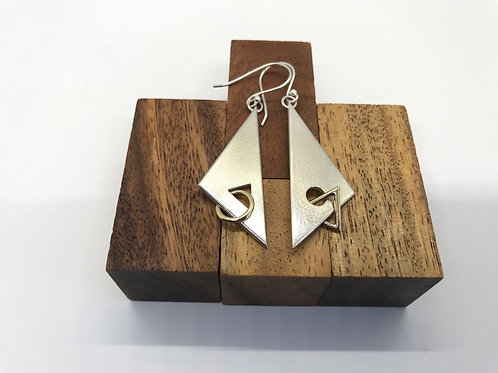 """Kite 2"" Silver Earrings with Gold Links"