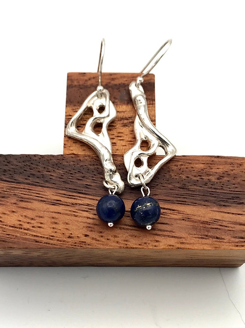 """Lava 1"" Earrings with Lapis Lazuli."