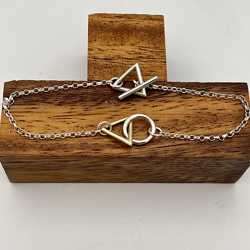"""""""Entwining"""" Handmade Silver and Gold Bracelet"""