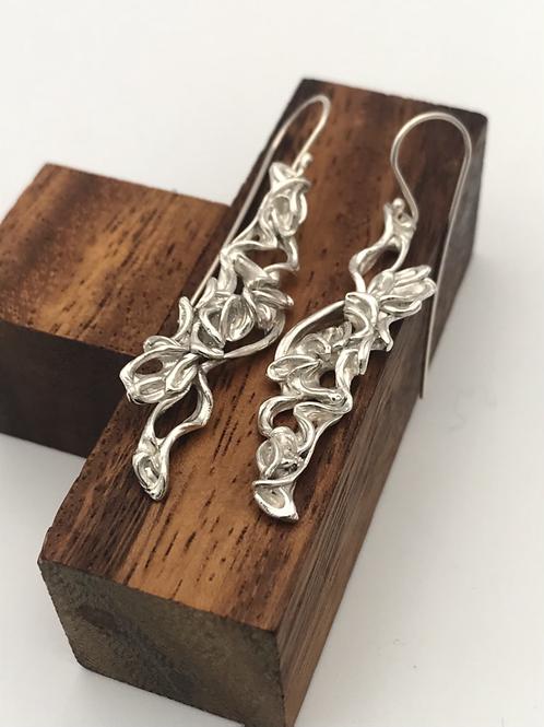 """""""Cascade"""" Silver Earrings."""