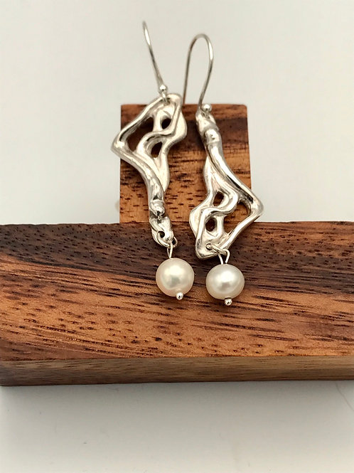 """Lava 3"" Earrings with Pearls."