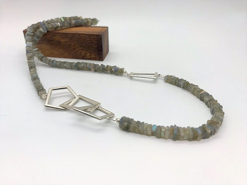 """Balance"" Labradorite with Dynamic Silver Chain"
