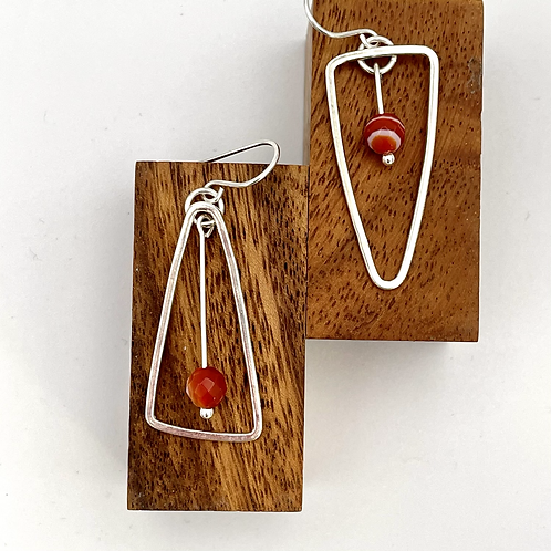 """See Saw"" Silver Earring with Carnelian."