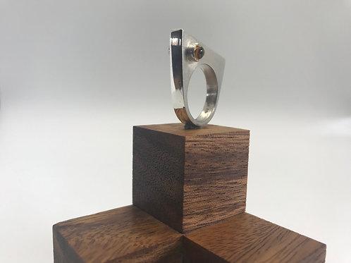 """Dual Aspect 2"" Asymmetric Silver Ring"