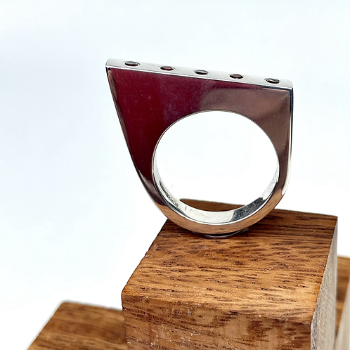 """""""Incline In red"""" Asymmetric Silver Ring with  Garnets"""