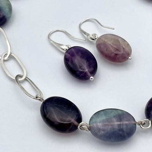 """Rainbow"" Silver and Fluorite Earrings."