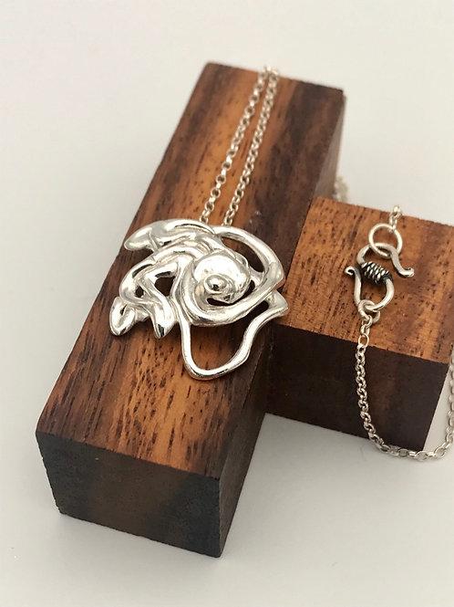 """Flower 2"" Silver pendant."