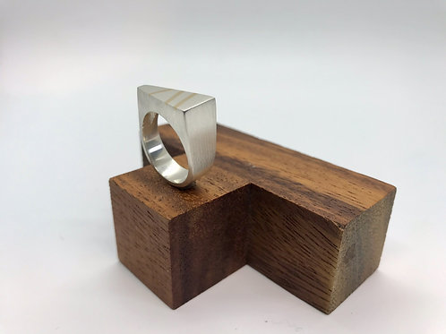 """Fine Lines"" Silver Ring with Gold Inlay"