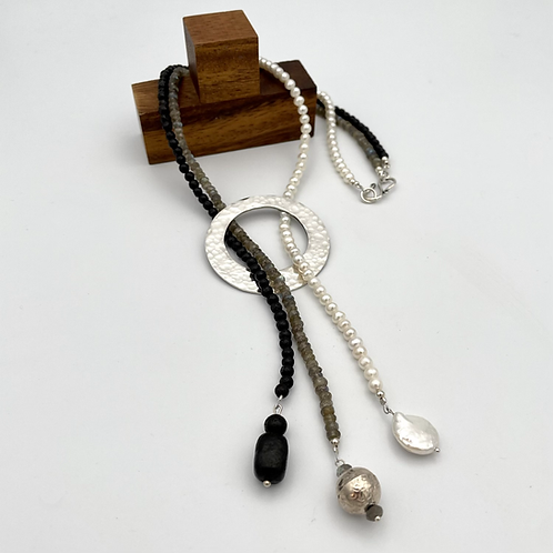 """""""Strands 2L""""  Natural Gemstone Bead Necklace with Silver Centrepiece"""