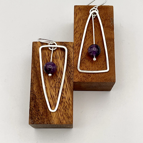 """""""See Saw""""  Silver Earrings with Amethyst."""