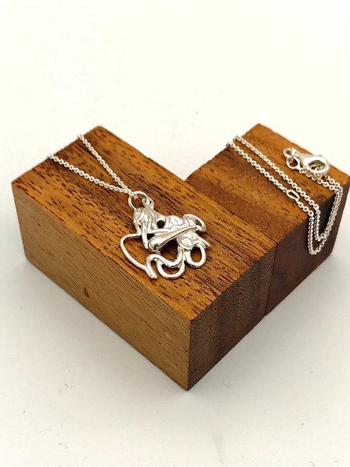"""Squiggle 2"" Silver pendant."