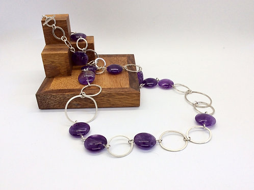 """Symmetry"" Silver and Amethyst Necklace"