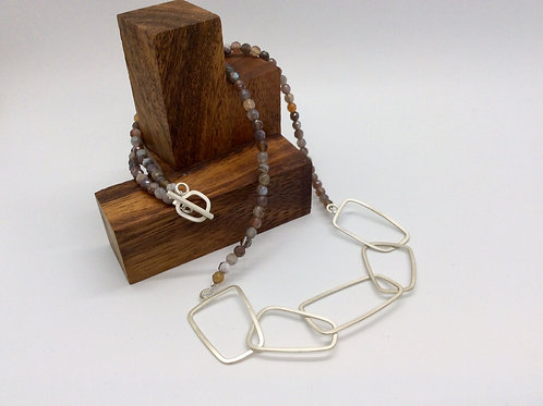 """""""Chain Reaction 5"""" Silver Necklace with Botswana Agate"""