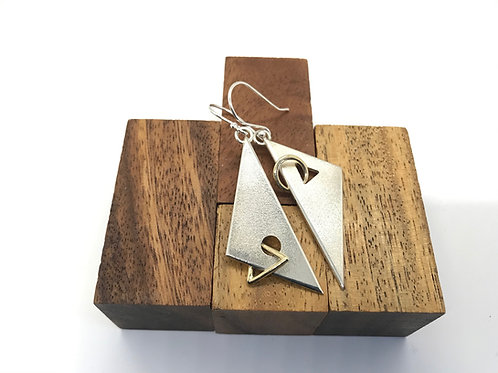 """""""Kite 3"""" Silver Earrings with Gold Links"""