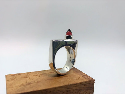 """Stature"" Silver Ring with Garnet"