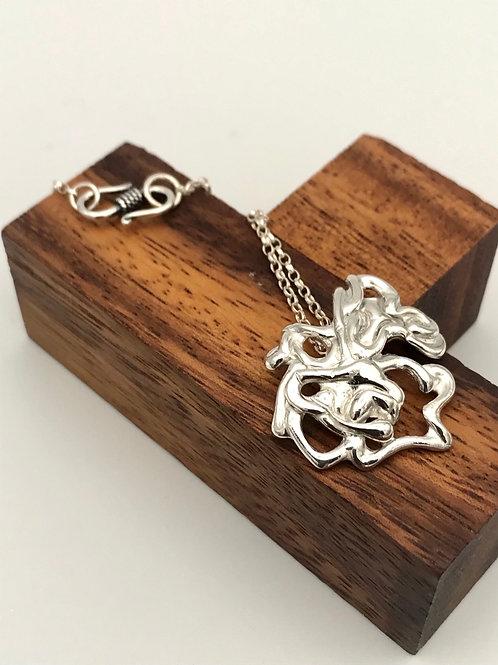 """Flower 1"" Silver pendant."