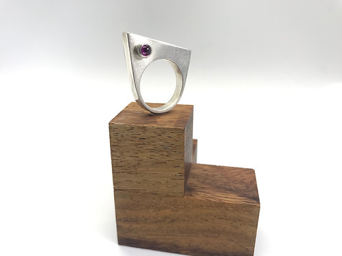 """Dual Aspect 3"" Asymmetric Silver Ring"