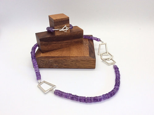 """Balance"" Silver and Amethyst bead necklace"