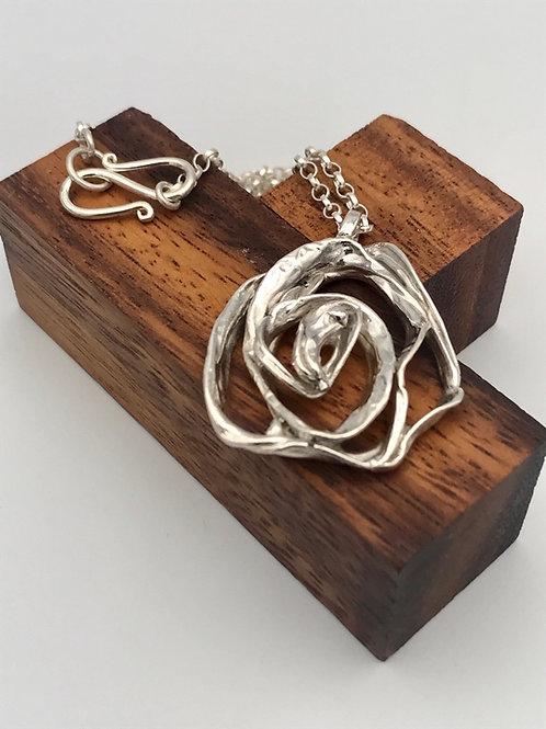 """Rose"" Silver pendant."