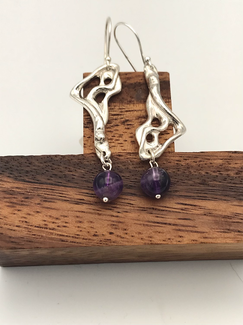 """Lava 2"" Earrings with Amethyst ."