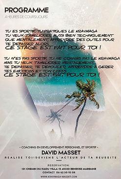 Affiche du stage dété de kravmaga et sophrologie de David Masset