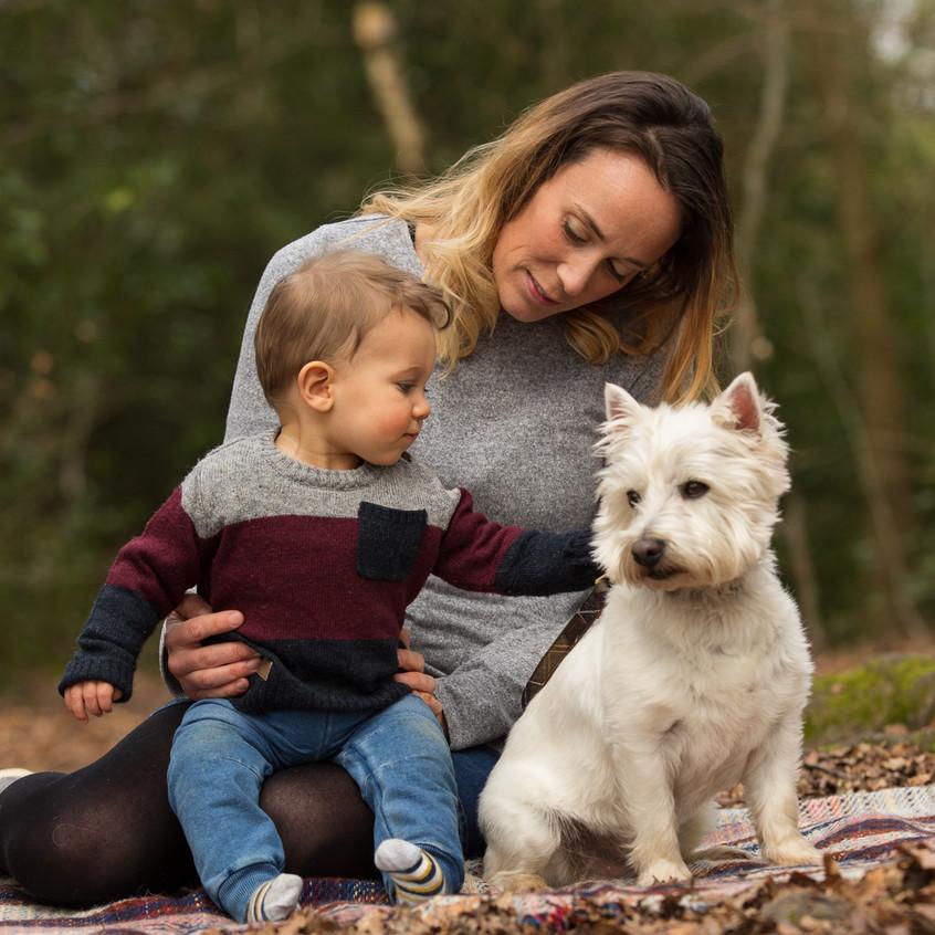 Mother Toddler Dog Box Hill Portrait