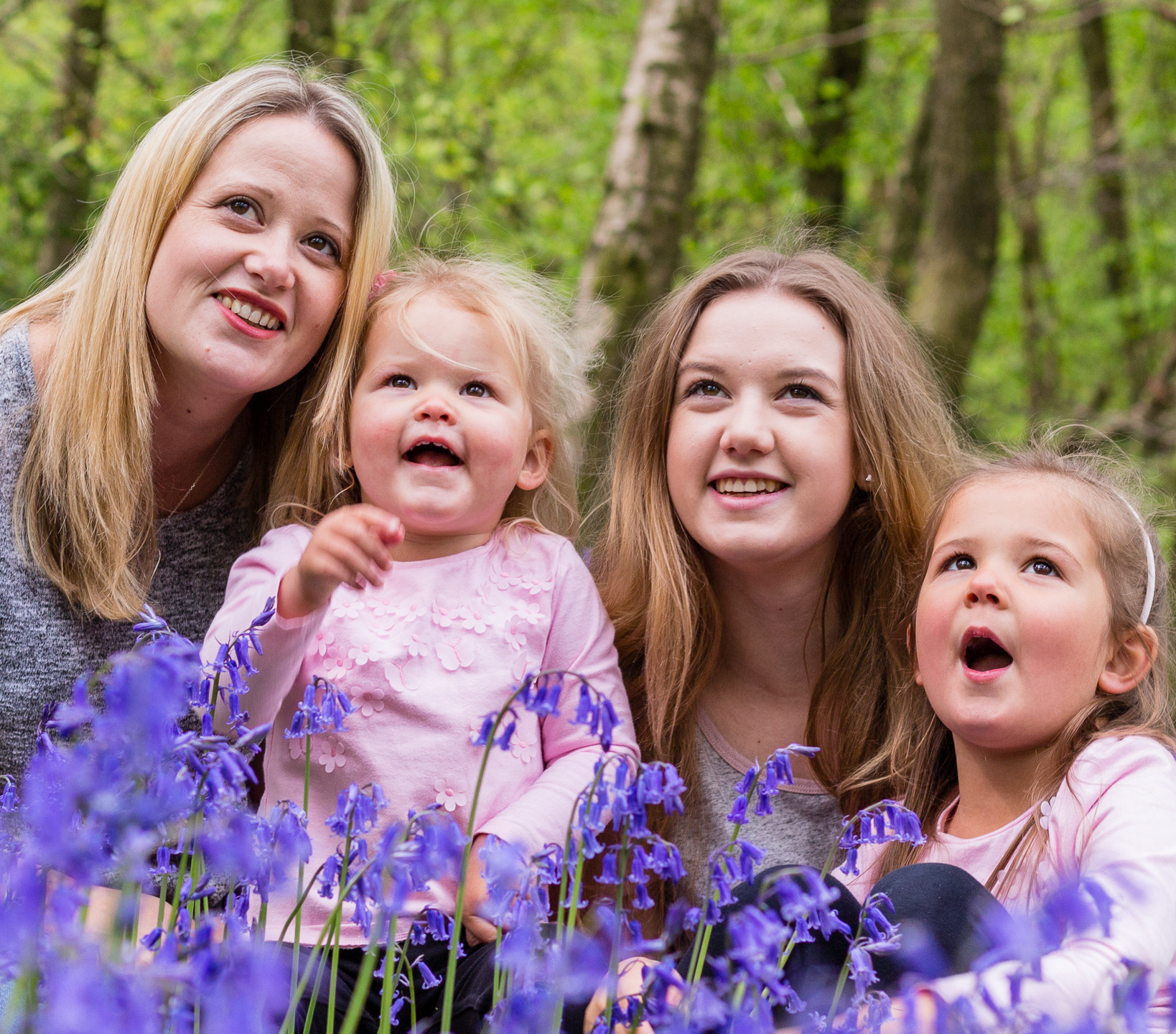Mother and Daughters in Bluebells
