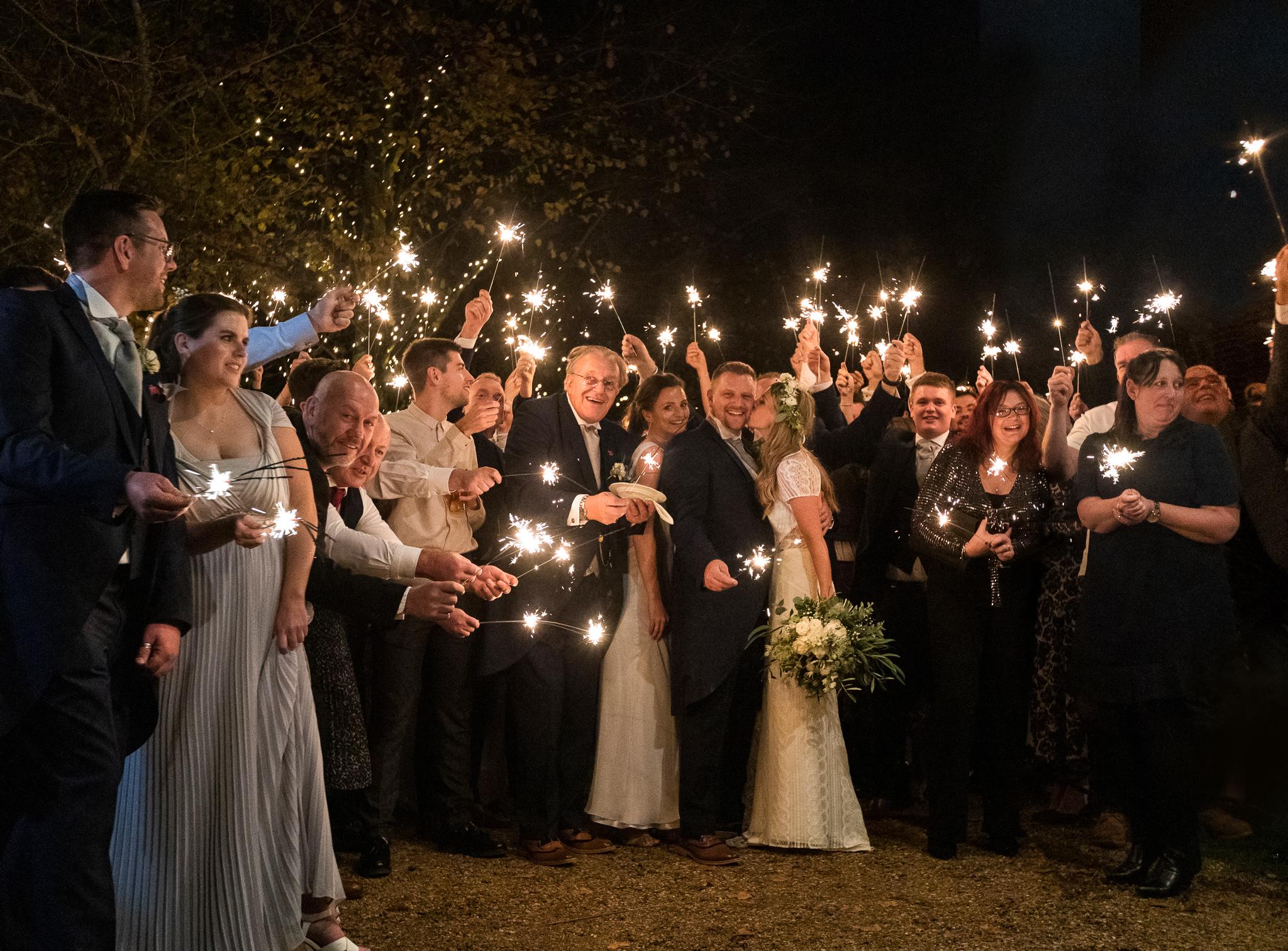 Hampshire_wedding_photography_sparkler_exit_Rachel_Thornhill_Photographer