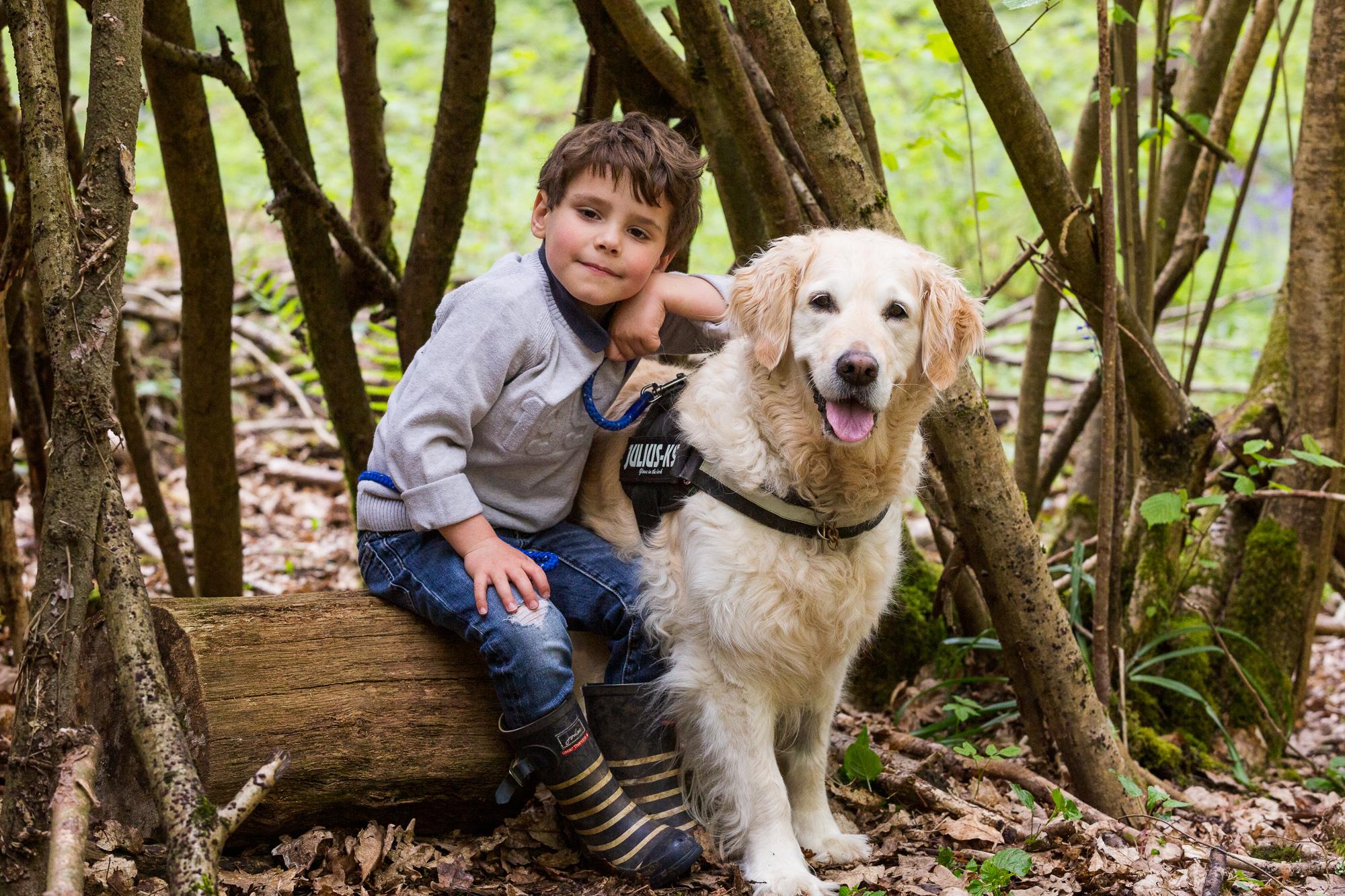 Woodland Boy and Dog Portrait