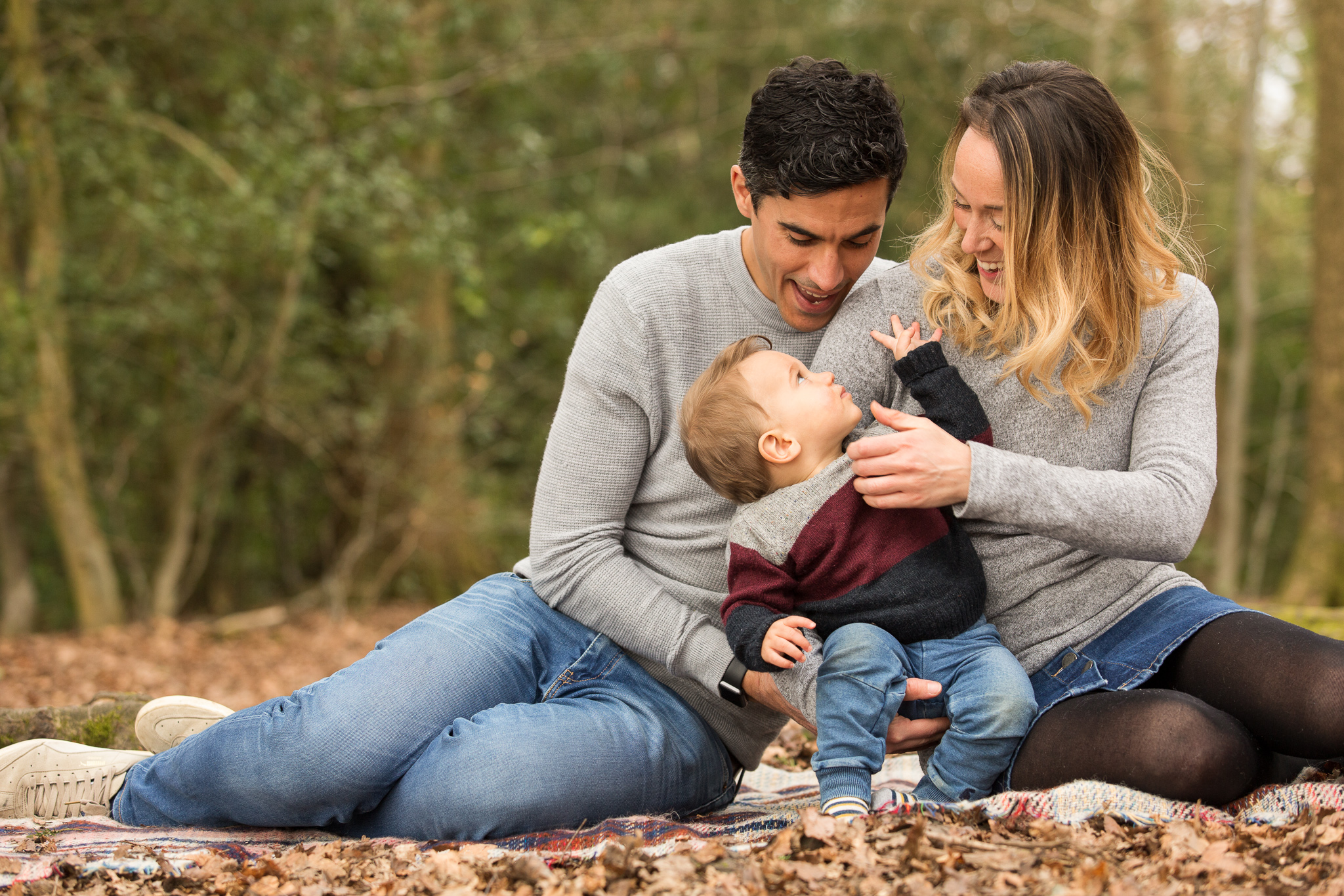 Family of three with Toddler Portrai