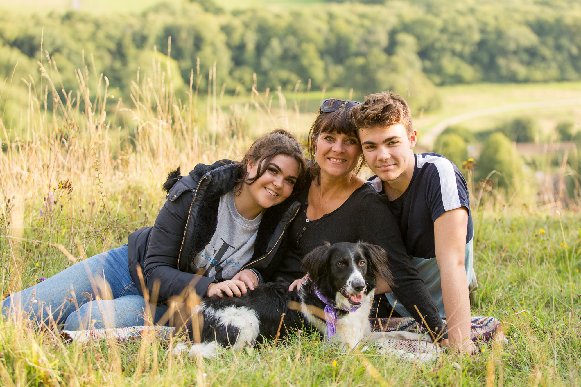 Family of 3 and Dog Portrait on Box