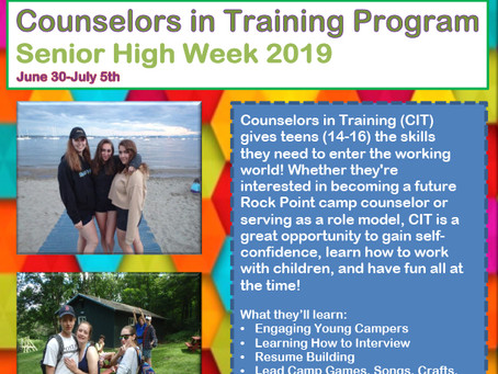Rock Point Camp Announces Counselors in Training Program, Senior High Week 2019 June 30-July 5