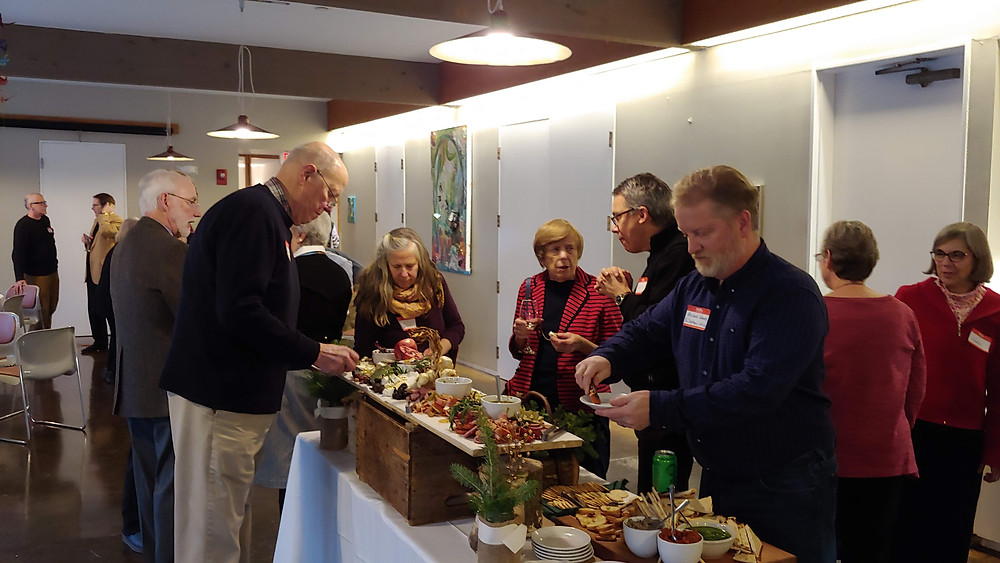 Guests enjoying appetizers at a reception