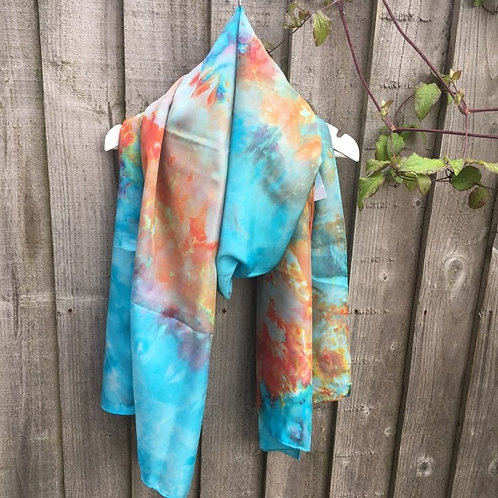 Gold Fish Bowl Ice dyed silk scarf- Large 45x180cm