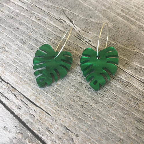 Green Shimmer perspex tropical leaf on sterling Silver hoops