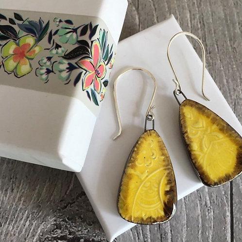 Sunflower yellow ceramic drop earrings.