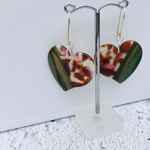 Miami Art Deco inspired collection- Perspex heart drop heart earring